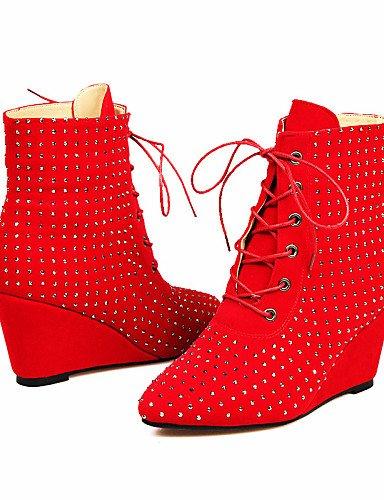 Puntiagudos Rojo Zapatos Red Cuña Vestido 5 Cuñas Cn43 Negro Eu42 Uk6 us8 A Botas Uk8 Cn40 Brown Moda Eu39 Tacón 5 us10 Marrón Xzz La Vellón De Mujer 5 Casual 5 aSwqYdY