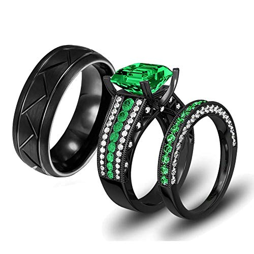 LOVERSRING Two Rings His and Hers Couple Ring Bridal Set His Hers Women Black Gold Filled Green Cz Man Stainless Steel Wedding Ring Band Set