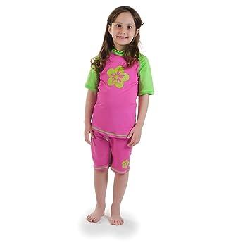 41b1e824d7 Girls size 6 Pink/Green Sun UV Protective Rashguard Swimsuit swim shirt & shorts  SPF