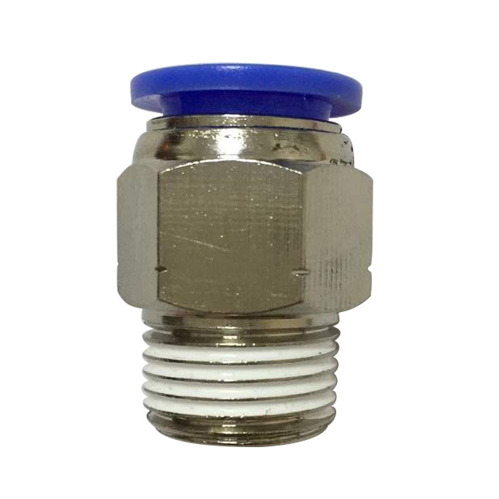 Avanty PBT & Nickel Plated Brass Push to Connect Tube Fitting with Sealant, Male Straight Adapter, 10mm OD x 3/8'' NPT Male (Pack of 20)