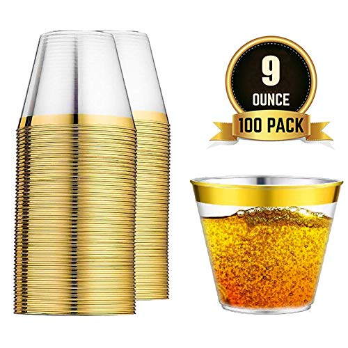 100 Gold Rimmed Hard & Clear Plastic Party