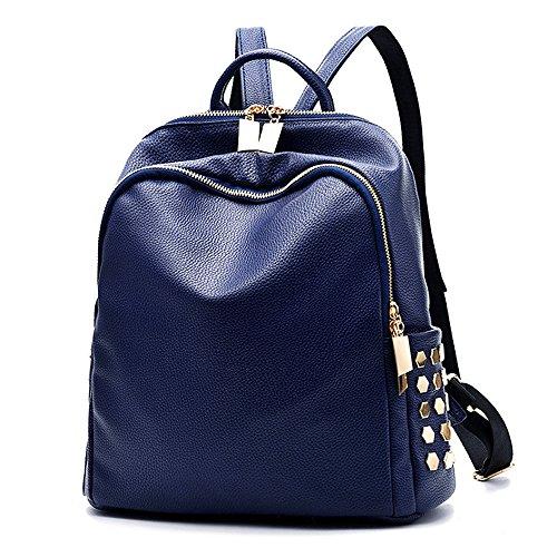 (JVP 1036-C) mochila de las mujeres mochila impermeable de cuero de la PU de gran capacidad de la espalda de las mujeres bolso bonito mochila bolso de moda popular Azul Marino