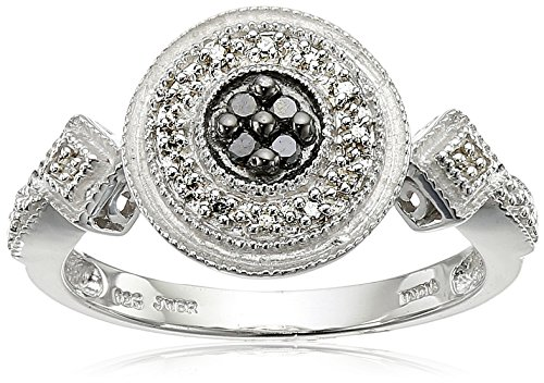 Sterling Silver Black and White Diamond Round Ring - Round Silver Diamond Ring