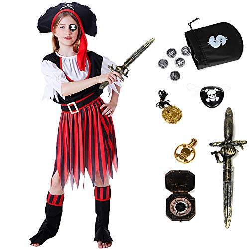 ACEHOOD Girls Pirate Costume 11 Pcs Role Play Pirate Cosplay Halloween Costumes for Kids Red]()