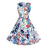 Fashion Women Halloween Rose Skull Print Sleeveless Swing Midi Dress Cocktail Party Dress (L, White)