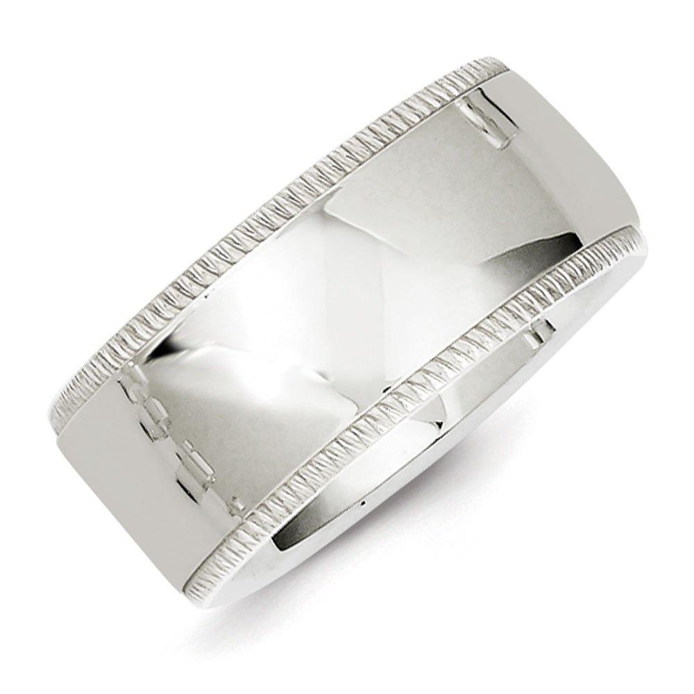 10mm High Polish Finish Milgrain Comfort Fit Sterling Silver Wedding Band - Size 11