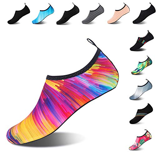 Mens Womens Water Shoes Barefoot Beach Pool Shoes Quick-Dry Aqua Yoga Socks for Surf Swim Water Sport (Colorful, 38/39EU) (Cute Outfits To Wear To The Beach)