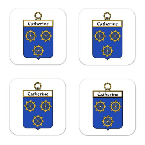 (Catherine Family Crest Square Coasters Coat of Arms Coasters - Set of 4)
