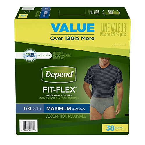 Depend FIT-FLEX Incontinence Underwear for Men Maximum Absorbency, Large/X-Large (38-64 in. Waist, 170-300 lbs.), 38 Count, Disposable Absorbent Underwear for Adults, Packaging May - Fitflex