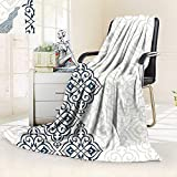 vanfan Warm Microfiber All Season Blanket Decor Arabesque Pattern Vintage Damask Effects Curved Persian Floral Arabian Teal,Silky Soft,Anti-Static,2 Ply Thick Blanket. (50''x30'')