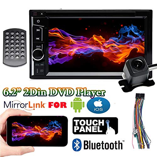 "Double 2DIN Car DVD Player Radio Stereo with Backup Cam for Chrysler 200 2011-2014, with Bluetooth Mirrorlink 6.2"" Touchscreen USB AM FM SWC AUX Subwoofer ()"