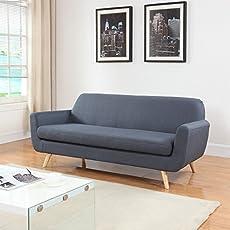 mid century grey linen fabric sofa
