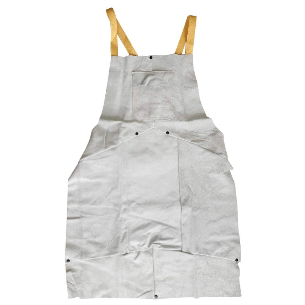 B Blesiya Heat Resistant 90x60cm White Leather Weld Proctective Apron with Pockets Splatter Resistant