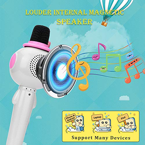 BONAOK Kids Wireless Bluetooth Karaoke Microphone with Magic Sound & Colorful LED light, 5 in 1 Portable Handheld Party Karaoke Speaker Machine Birthday Gift for Android/iPhone/iPad/PC (pink) by BONAOK (Image #4)