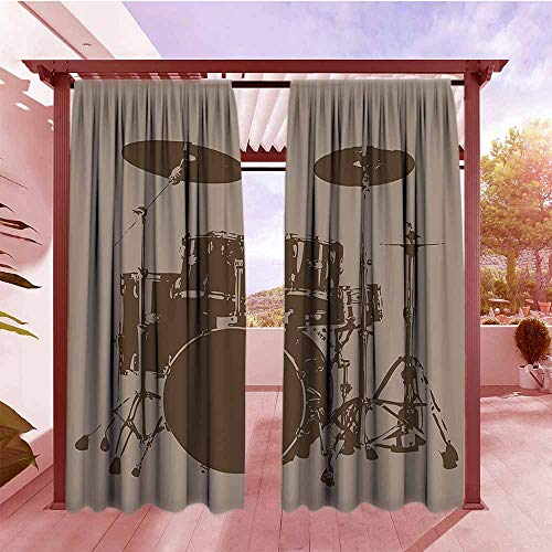 Curtains Rod Pocket Two Panels Music Decor Grunge Drum Kit for Bass Rythm Lovers Ba Dum TSS Image Sketchy Art Darkening Thermal Insulated Blackout W120x84L Purple Grey and Black