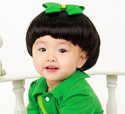 Linda cabeza hongo negra para 0-3 de los niños fotografía cabello peluca peluca niño