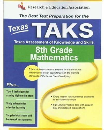 Texas TAKS Grade 8 Math REA The Best Test