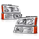 VIPMOTOZ For 2003-2006 Chevrolet Silverado 1500 2500 3500 Headlight & Front Turn Signal Bumper Lamp Set - [Factory Style] - Metallic Chrome Housing, Driver and Passenger Side