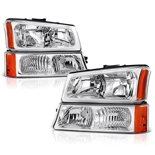 VIPMOTOZ For 2003-2006 Chevy Avalanche Silverado 1500 2500 3500 4PCs OEM-Style Chrome Bezel Headlight + Front Turn Signal Bumper Lamp Housing Assembly Set Driver & Passenger ()