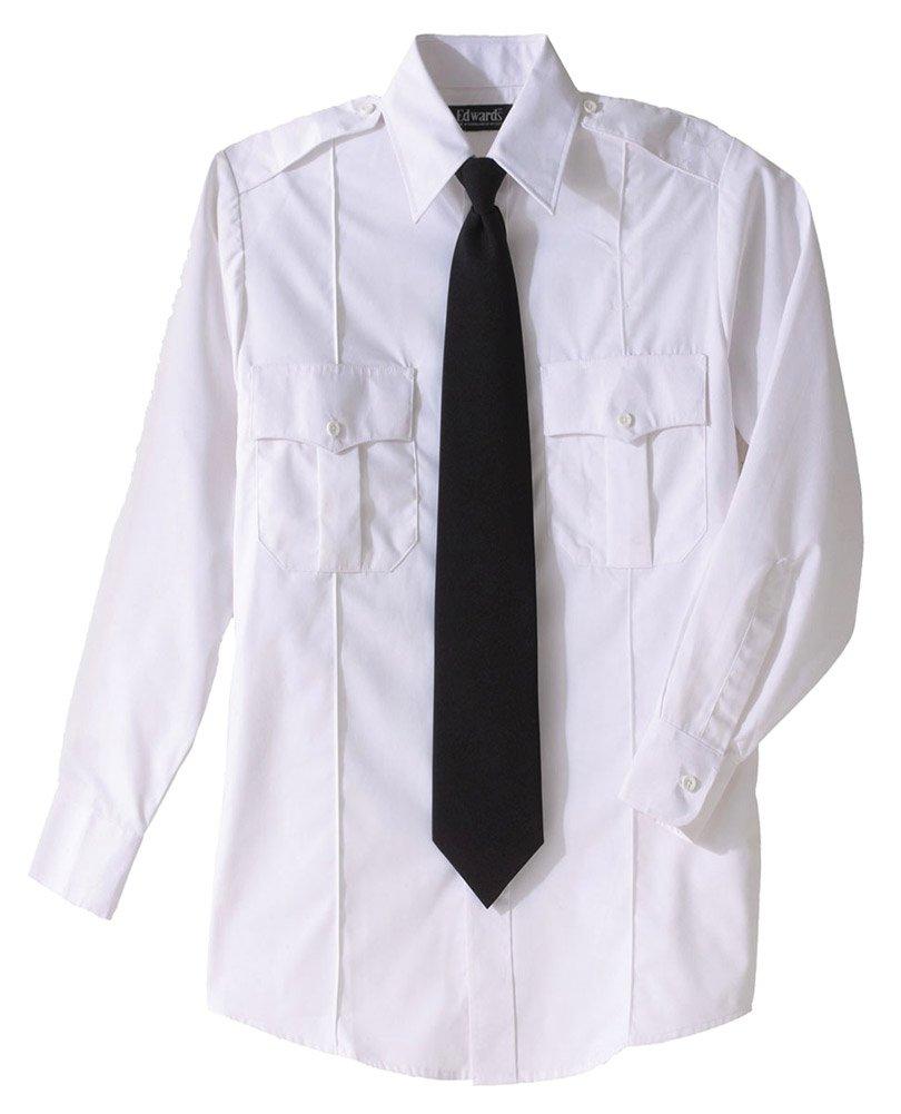 Edwards Security Long Sleeve Shirt Polyester/Cotton Blend, WHITE, Large