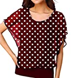 Handyulong Womens Shirts Plus Size Chiffon Summer Short Sleeve Polka Dot Print Batwing Casual Tunic T-Shirts Blouse Tops Wine