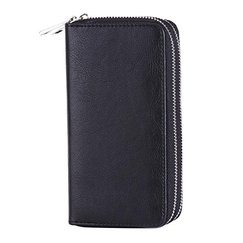 HAWEE Big Size Long Wallet for Woman Dual Zippered Clutch Purse Premium PU 5 Credit Card Slot 1 Smart Phone Slot 1 Coin Purse and Ample Compartments for Cash and Note, Black by HAWEE