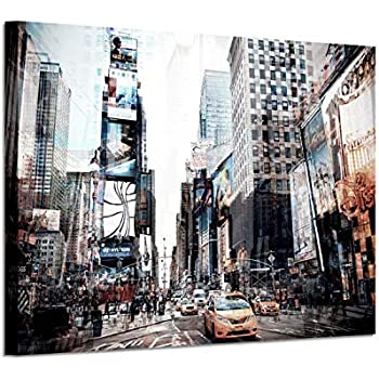 Cityscape Wall Art Canvas Pictures: NYC Artwork Painting Print on Canvas for Office (36'' x 24'' x 1 Panel)