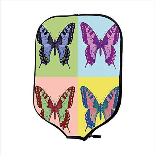 - Neoprene Pickleball Paddle Racket Cover Case,Butterflies Decorations,Pop Art Swallowtail Pavilions Wild Life Transcendent Energies of Miraculous Wings,Multi,Fit For Most Rackets - Protect Your Paddle
