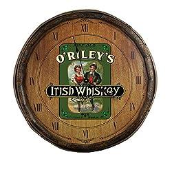 Personalized Irish Whiskey Decorative Barrel Lid Clock