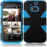 Warrior Wireless (TM) HTC One M8 Dynamic Slim Hybrid Cover Case - Black+Sky Blue + Bundle = (ITEM + CELLPHONE STAND) - By TheTargetBuys