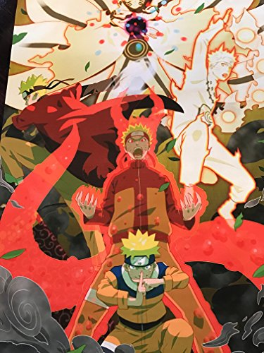 Anime Naruto Home Decor Wall Scroll Poster Fabric Painting Janpan Art Cosplay Uzumaki Naruto / Uchiha Sasuke / Hatake Kakashi 23.6 x 35.4 Inches-587[A]