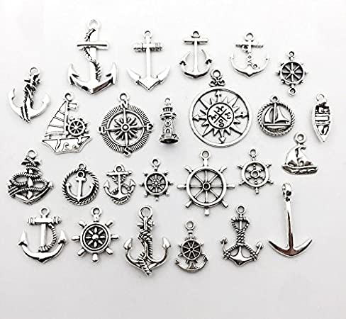 50Pcs Antique Silver Rudder Anchor Charms Pendant Jewelry Making Craft