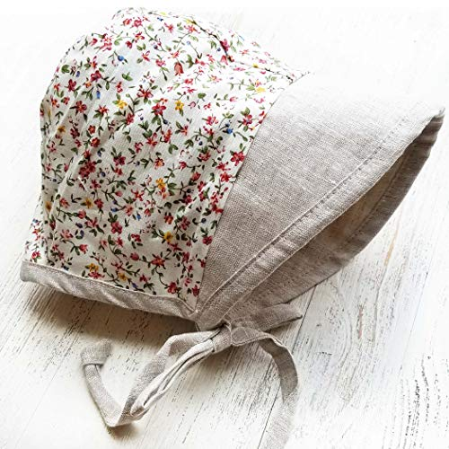 Baby Bonnet Country Vintage Hat with Visor Reversible Dual Side Linen & Cotton Floral #EvyBonnet Collection Bonnets ... (Ashes & Petals, 3-6)