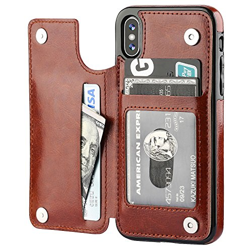 iPhone Xs iPhone X Wallet Case with Card Holder,OT ONETOP Premium PU Leather Kickstand Card Slots Case,Double Magnetic Clasp and Durable Shockproof Cover(Brown)