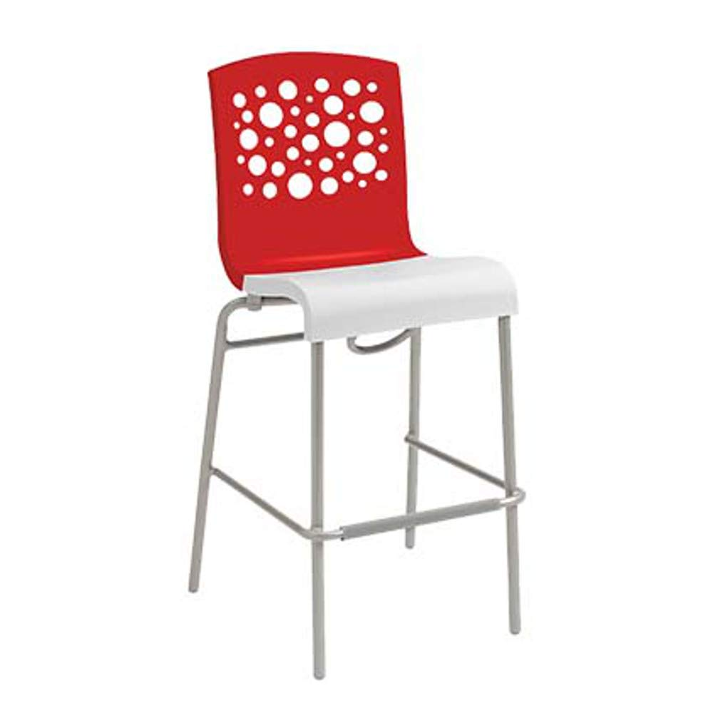 Grosfillex US838414 Tempo Stacking Barstool, Red with White Seat (Case of 2)