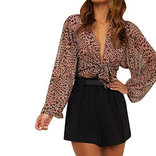 - 2019 Chiffon Leopard Blouse for Women,QueenMMWomen Long Sleeve Tie Front Short Blouse Lightweight V Nekc Summer Tops Khaki