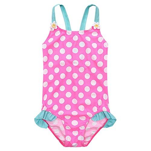 Dot Pink Tankini (OBEEII Little Big Girls One Piece Swimsuit Bathing Suit Thin Strap One Piece Ruffle Polka Dot Stripe Flower Swim Beach Sport Swimwear 8)