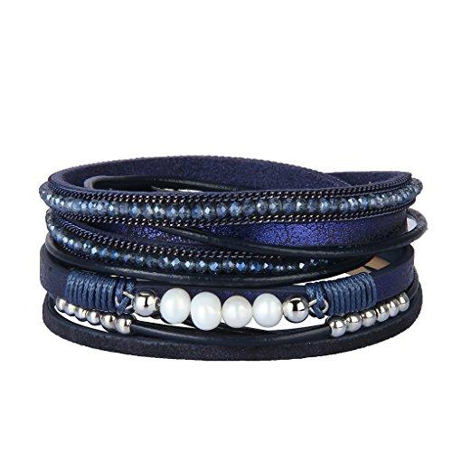 Leather Blue Bangle - Bfiyi Leather Cuff Bracelets for Women Charm Bracelets Handmade Jewelry Wrap Bangle with Crystal&Pearl