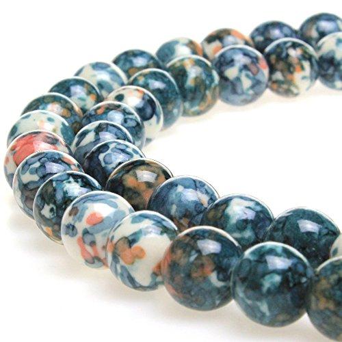 JarTc 5A Smooth Round Rain Flower Stones Beads DIY Bracelet Jewely Making 15'' (10mm, (Gray Round Bracelets)