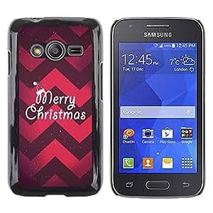 Caucho caso de Shell duro de la cubierta de accesorios de protección BY RAYDREAMMM - Samsung Galaxy Ace 4 G313 SM-G313F - Christmas Chevron Red Purple Xmas