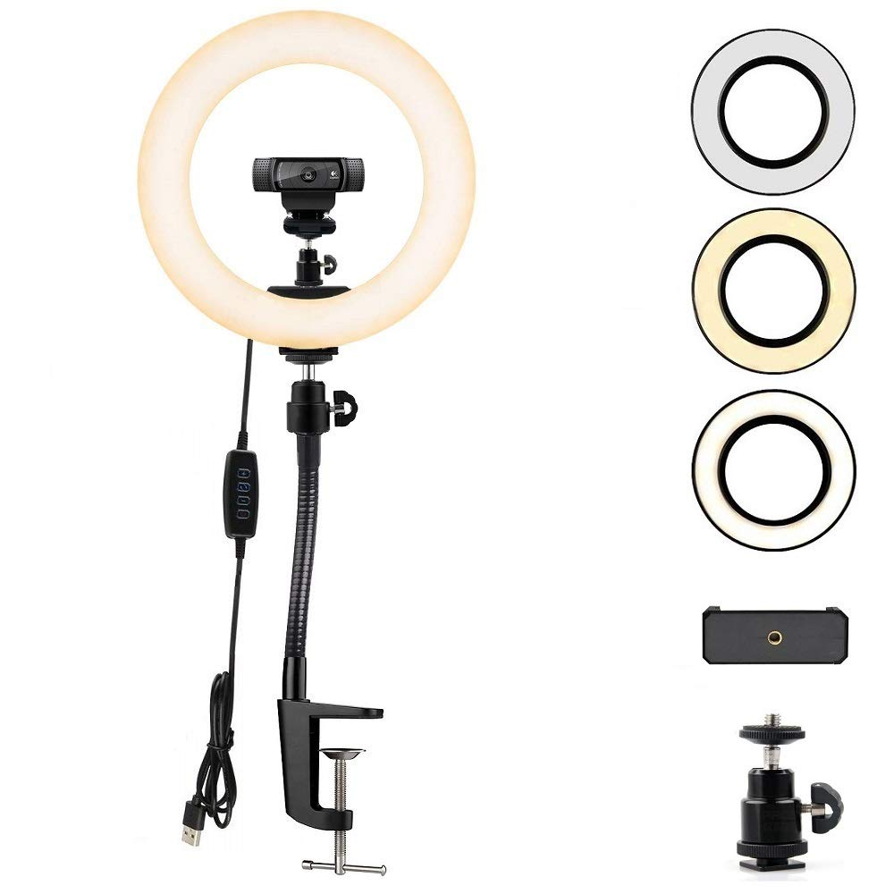 Webcam Streaming Light, Ring Light with Stand for Logitech Webcam C920,C922x,C930e,Brio 4K,C925e,C922,C930,C615-12 inches Light by AceTaken