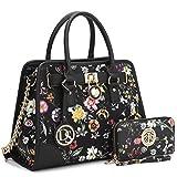 Dasein Women's Designer Padlock Striped Belted Top Handle Satchel Handbag Purse Shoulder Bag With Wallet (Black Floral Style)