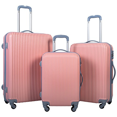 Merax Newest 3-piece Luggage Sets Spinner Suitcase / Luggage with 4 Wheels (Pink1)