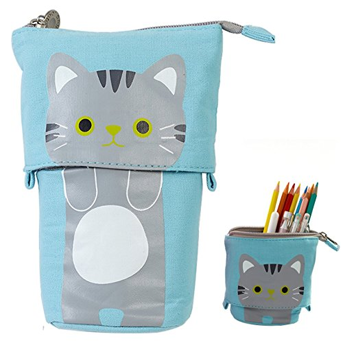 Telescopic Pencil Pouch Standing Pen Holder Cute Pencil Bags Stand up Pen Case Cartoon Pencil/Pens Storage Box Canvas+PU Stationery Organizer Makeup Bag with Zipper Closure (Blue)