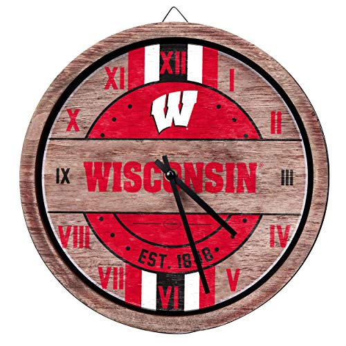 FOCO NCAA Wisconsin Badgers Team Logo Wood Barrel Wall ClockTeam Logo Wood Barrel Wall Clock, Team Color, One -