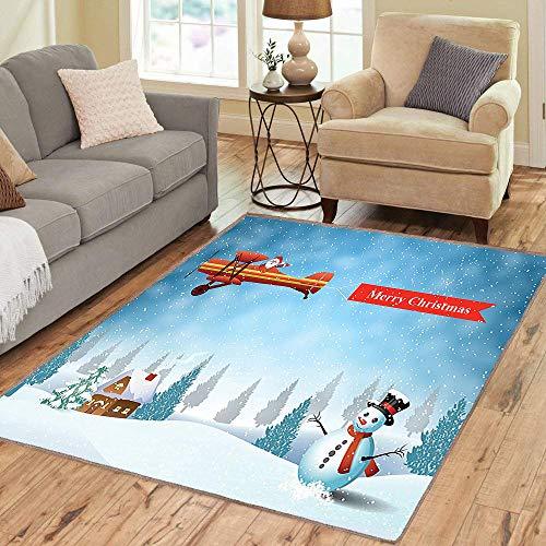 Rug,FloorMatRug,Christmas,AreaRug,Santa in a Plane Flying Over The Forest with Snowman Jolly Season Celebration,Home mat,4'x5'Beige Blue White,RubberNonSlip,Indoor/FrontDoor/KitchenandLivingR