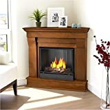 Chateau Corner Gel Fireplace in Dark Walnut
