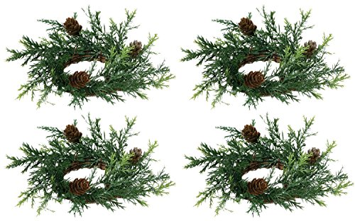 Set of 4 Holiday Candle Rings On Vine Base With Pine Cones and Greenery - Light Silver Glitter - 2 Inch Opening, 6 Inch Outside Diameter (Ring Candle Pinecone)