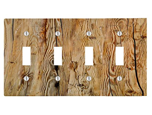 Wood Rustic Light Wooden Background Printed On a 4 Toggle Electrical Switch Wall Plate (8.38 x 4.69in)