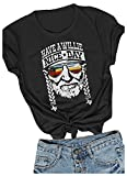 Women I Willie Love The USA & Have A Willie Nice Day Short Sleeve T-Shirts Tops (Black, Large)